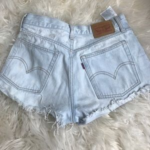 High waisted Levi 501 jean shorts